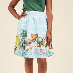 modcloth retrolicious | bike print flare skirt